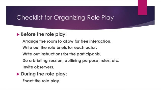 problem solving role play instructions