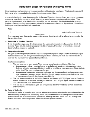 instruction sheet for personal directives form