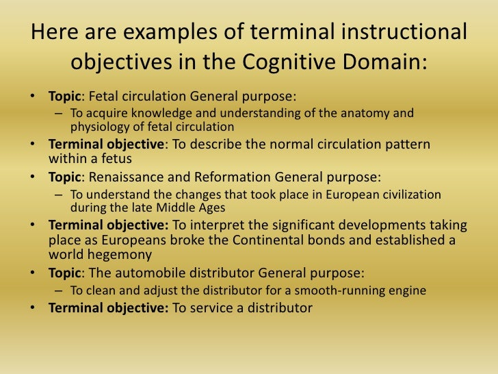 writing instructional objectives examples