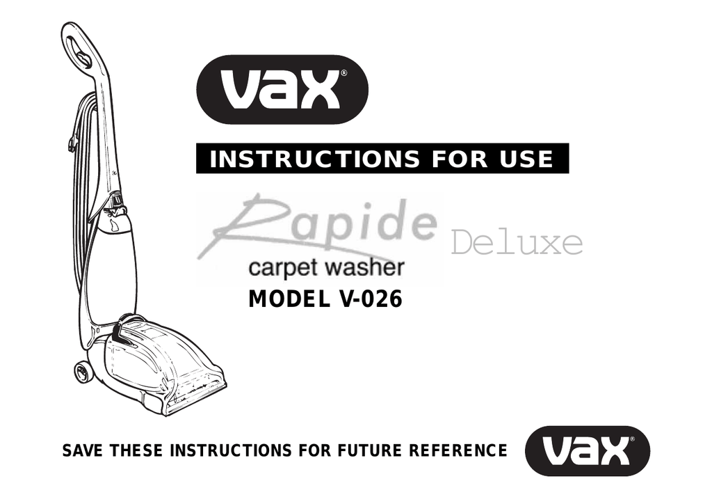 vax rapide spring clean instructions