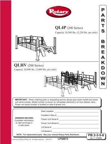 rotary lift spoa7 installation instructions
