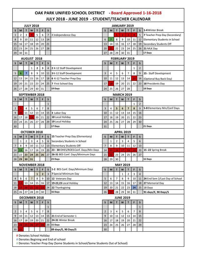 sjusd instructional calendar 2018-2019