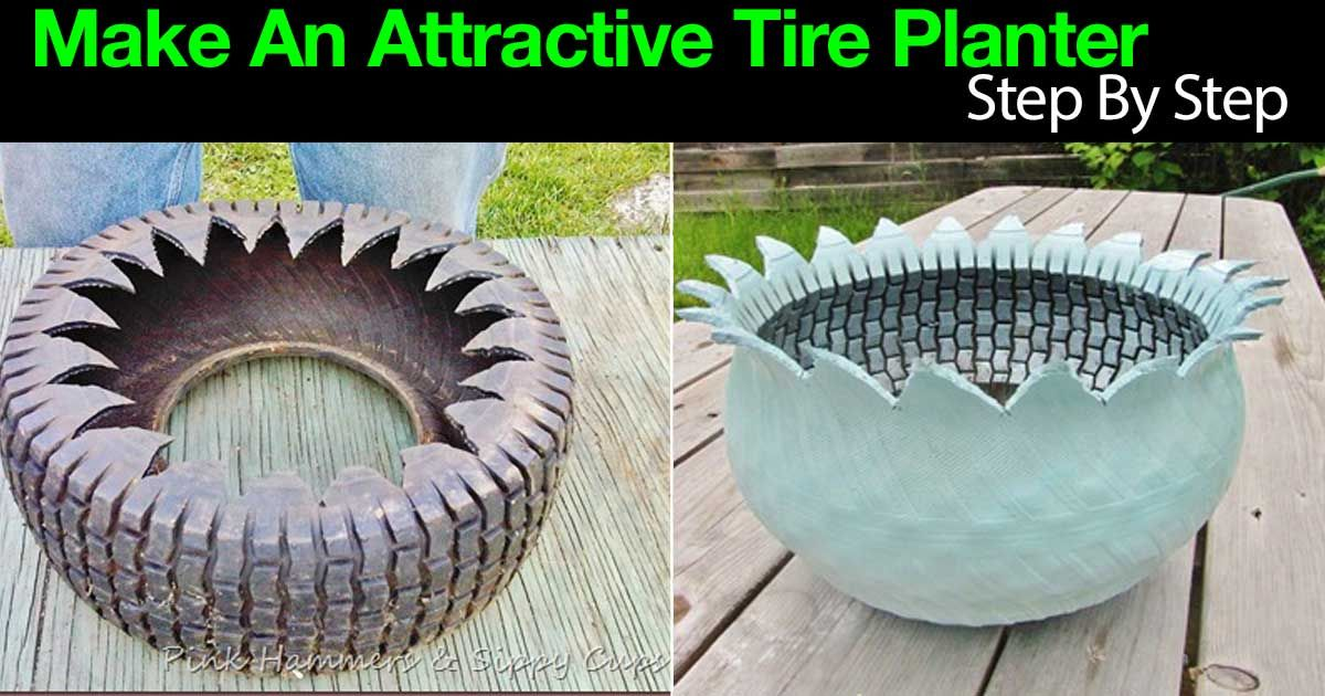 instructions how to make a teacup planter from tires