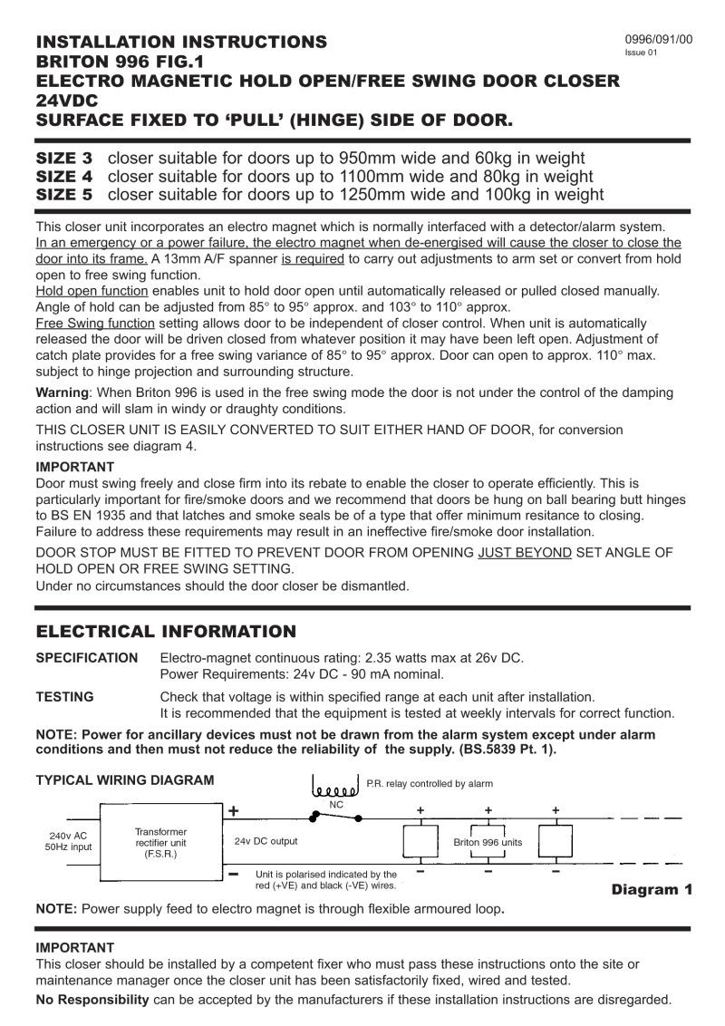 briton 996 door closer instructions