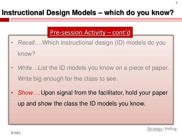 why instructional system design kenrick and gustafon model