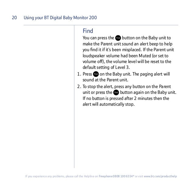 bt baby monitor 200 instructions