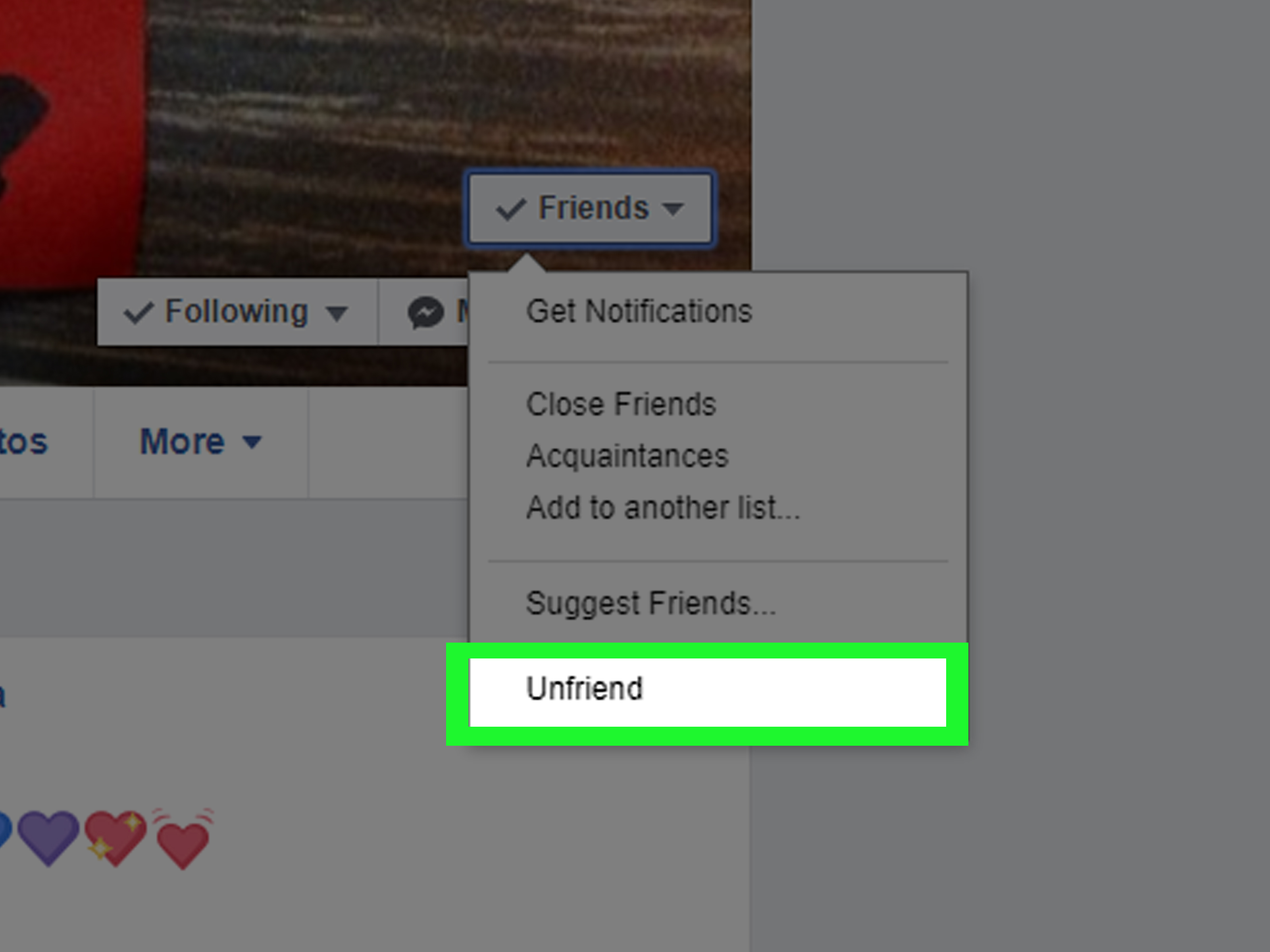 facebook instructions how to delete a friend