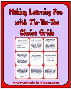 tic tac toe differentiated instruction template